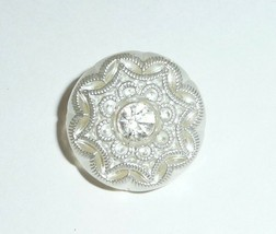 Beautiful White Satin Czech Glass w/Rhinestone Button 18mm - $4.19