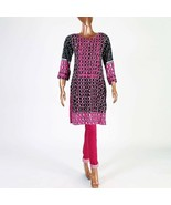 Hot Pink small pakistani kurta with Thread Embroidery - $39.60