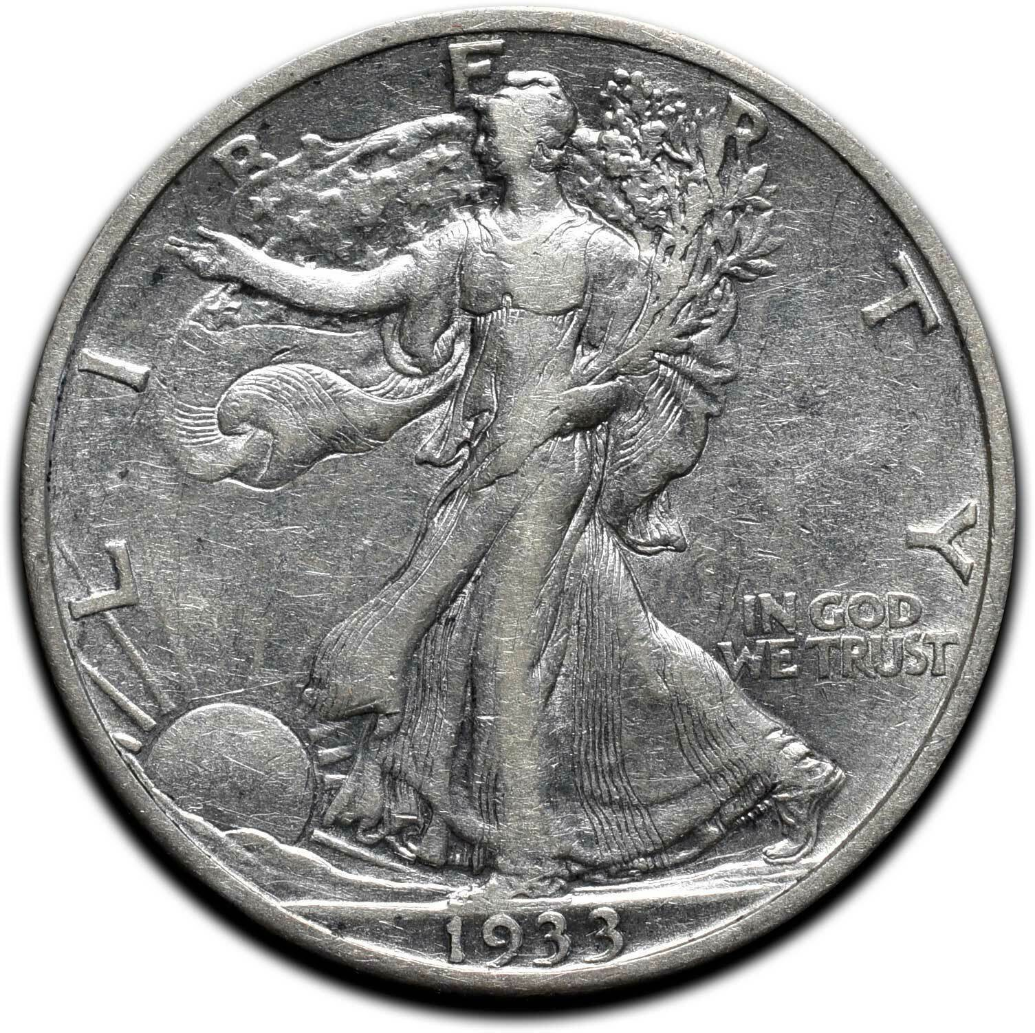 1933S Walking Liberty Half Dollar 90% Silver Coin Lot# A 575