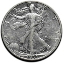 1933S Walking Liberty Half Dollar 90% Silver Coin Lot# A 575 image 1