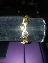 Vintage Signed Crown Trifari Classic Gold Tone textured Bracelet - $5.00