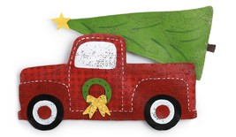Red Truck With Christmas Tree Door Decoration Peri Woltjer Screenings - $51.00