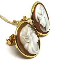 YELLOW GOLD EARRINGS 18K 750, CAMEO CAMEO SHELL, PAIR ELVES, ELF image 2