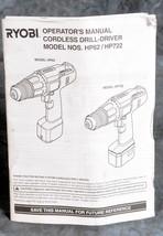 Ryobi Operators Manual For Cordless Drill-Hammer HP62 / HP722 - $4.00