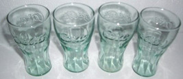 LIBBEY Coca-Cola (4) Miniature Coke Light Green Color Orange Juice Glasses - $19.99