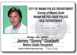 MIAMI VICE JAMES SONNY CROCKETT NAME BADGE TAG PROP HALLOWEEN COSPLAY PI... - $13.85