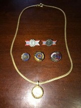 Lot of 6 Pendants Hat & Lapel pins PRR  JFK Coro WW2 Army Navy Production Award - $18.99