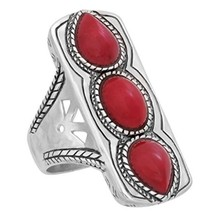 Silpada 'Deep Sea' Triple Red Coral and Sterling Silver Ring  Size 5-11 - $118.96