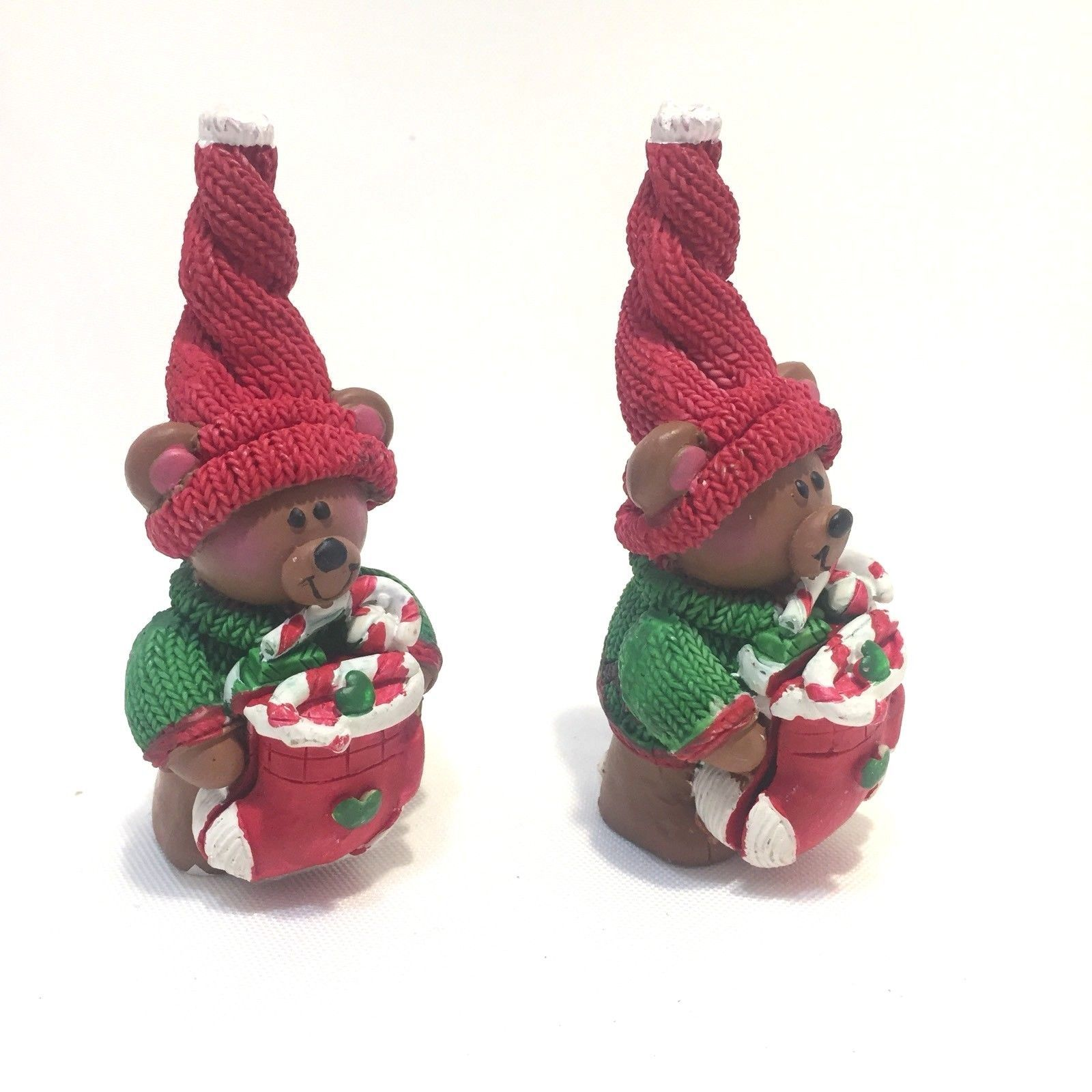 Teddy Bear Christmas Elves Figurines Knit Hat Candy Cane Stocking