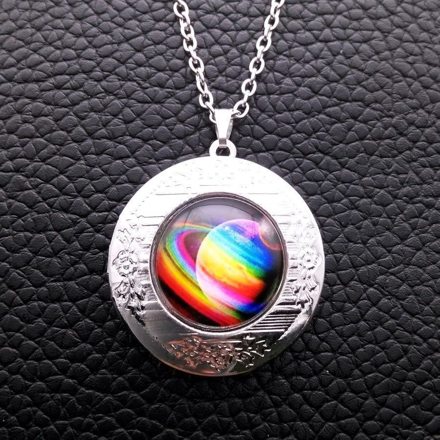 Primary image for SPACE CABOCHON LOCKET NECKLACE >>    C/S & H AVAILABLE   (4101)