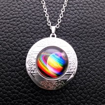 SPACE CABOCHON LOCKET NECKLACE >>    C/S & H AVAILABLE   (4101)  - $6.93