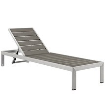 Outdoor Patio Aluminum Recliner Chaise Sun Lounger Chair Seating Silver ... - £242.78 GBP