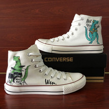 Unisex Hand Painted Shoes ROCK ROLL Dinosaurs Design Converse Chuck Sneakers - $149.00