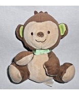 Fisher Price Monkey Plush Stuffed Animal Small Brown Green Bow - $8.14