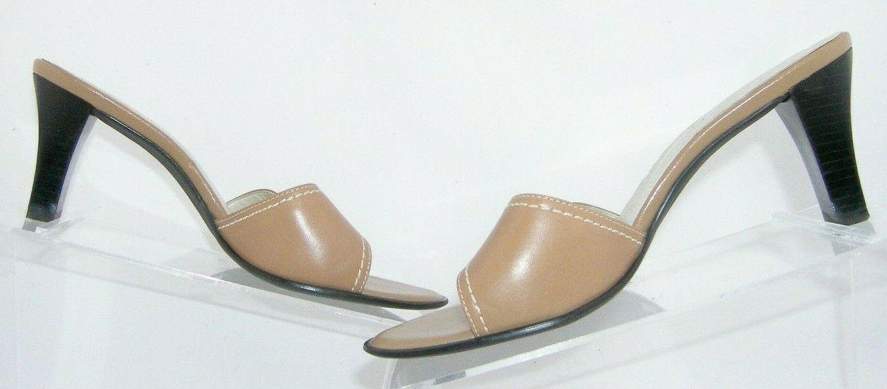 Franco Sarto brown leather buckle slip on slide mule sandal heels 7.5M 7627
