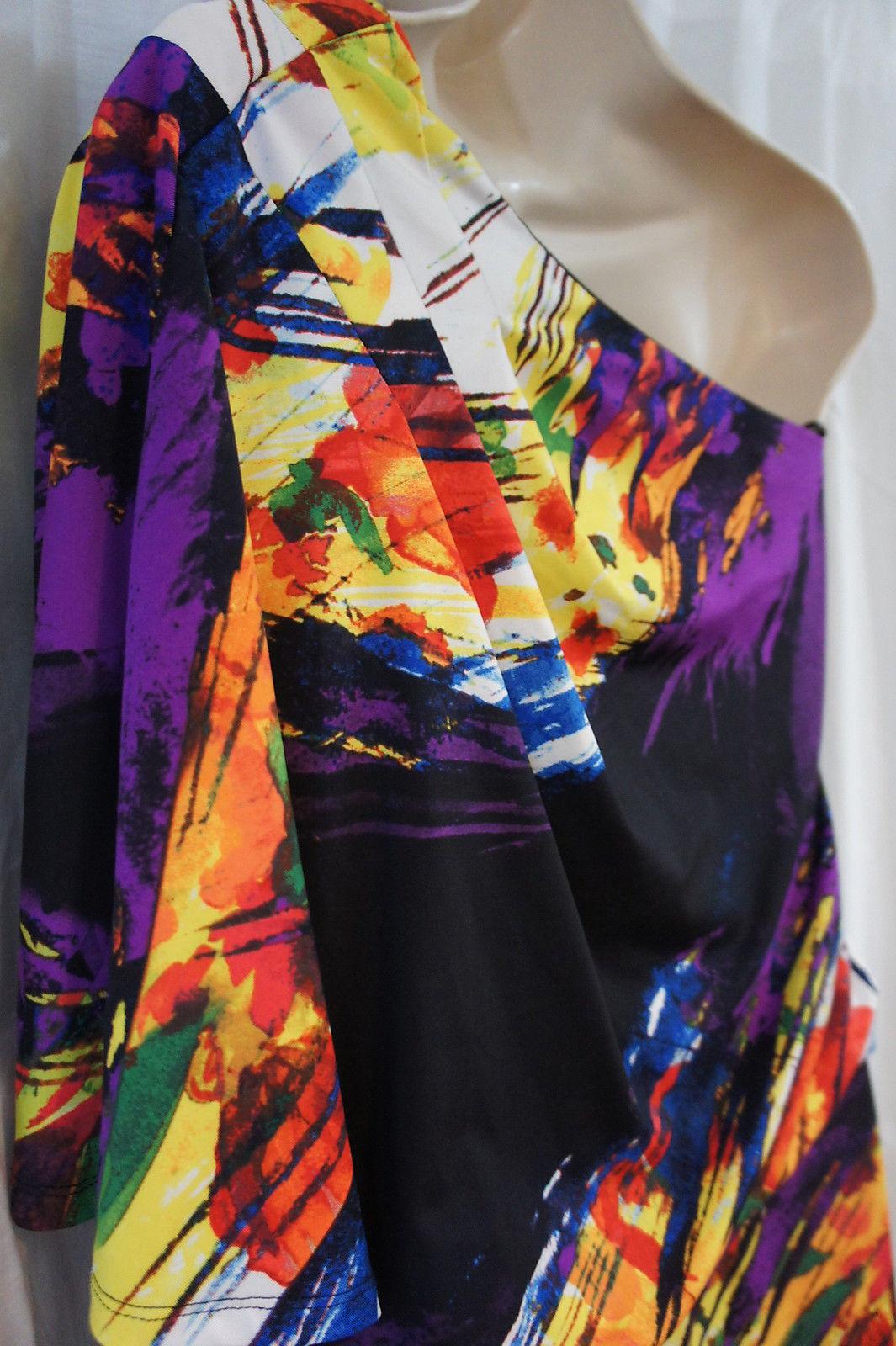 Jessica Simpson Dress Sz XS Black Multi One Shoulder Evening Cocktail Mini Dress