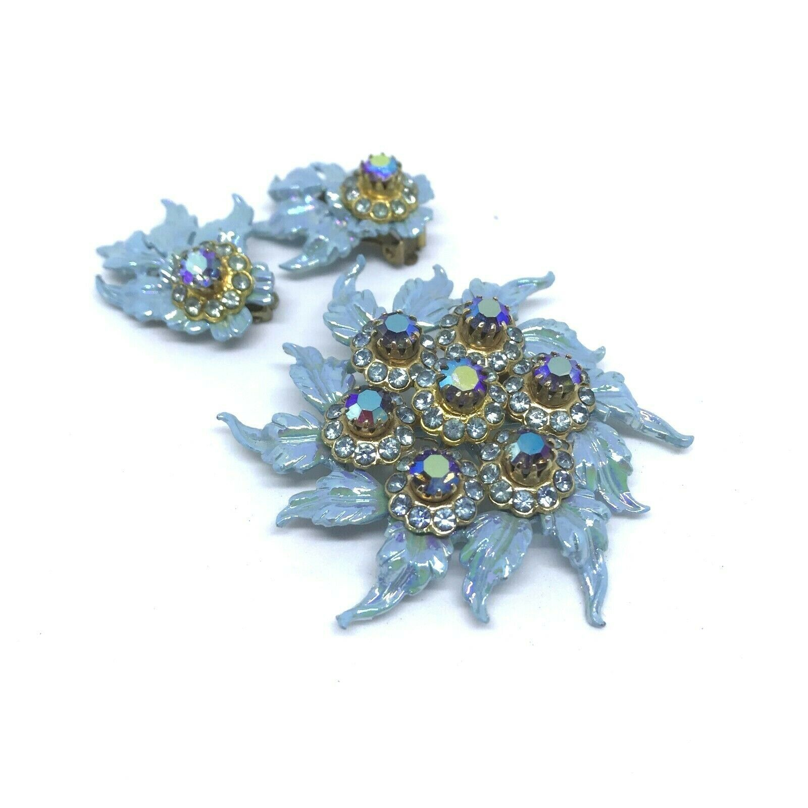 Primary image for Vintage 60s Selini Rhinestone Brooch Clip On Earring Signed Set Blue Enamel