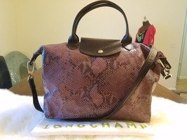 Longchamp Le Pliage Cuir Snake Purple Python Medium Handbag Brown Leathe... - $303.88