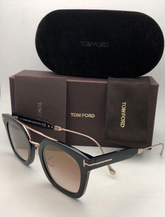 New TOM FORD Sunglasses ALEX-02 TF 541 01F 51-25 145 Black & Gold w/Brown+Mirror image 6