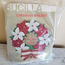 """VTG Bucilla Christmas Wreath Kit #7863 10"""" Red & White Flower Crochet New Sealed - $39.59"""