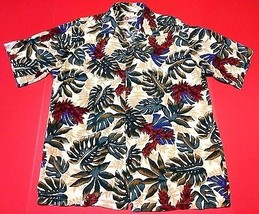 Hilo Hattie Palm Tree Leaves Burgundy Yellow Mens Hawaiian Shirt Tropical L - $21.99