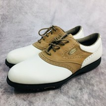 Footjoy Comfort Mens size 10M White Brown Cleats Leather Golf Shoes - $44.05