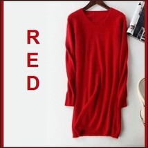 Ladies Soft Mink Cashmere Long Sleeve Red V-Neck Mini Sweater Shirt Dress
