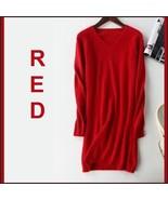 Ladies Soft Mink Cashmere Long Sleeve Red V-Neck Mini Sweater Shirt Dress - $108.95