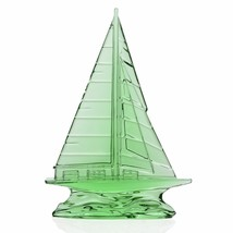 """Waterford Crystal Tall Light Green Sailboat Sculpture 9"""" New In Box # 40... - $180.92"""