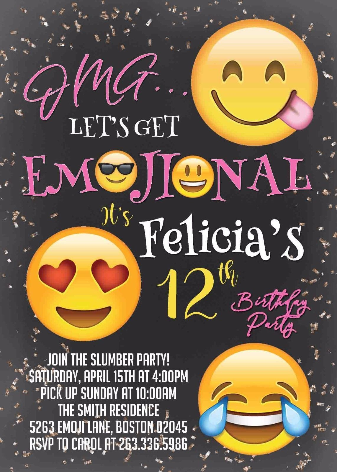 Emoji Birthday Party Invitation Teen Tween And 50 Similar Items S L1600