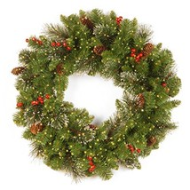 National Tree 24 Inch Crestwood Spruce Wreath with Cones, Glitter, Red Berries,