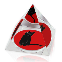 """Black Cat Red Background Illustration 2"""" Crystal Pyramid Paperweight - $15.99"""
