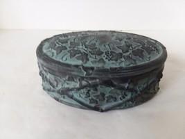 "Gray Green Faux Patina Ceramic Vanity Dresser Trinket Box  6 1/2"" x 4"" - $16.64"