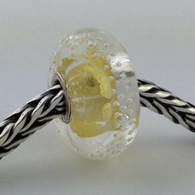 Authentic Trollbeads Glass Silver Trace Gold Bead Charm 62023, New - $28.49