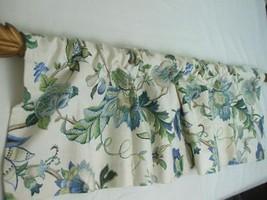 "Pair Lined Curtain Valances Custom Made Botanical Cottage Blue Cream 52""... - $26.96"