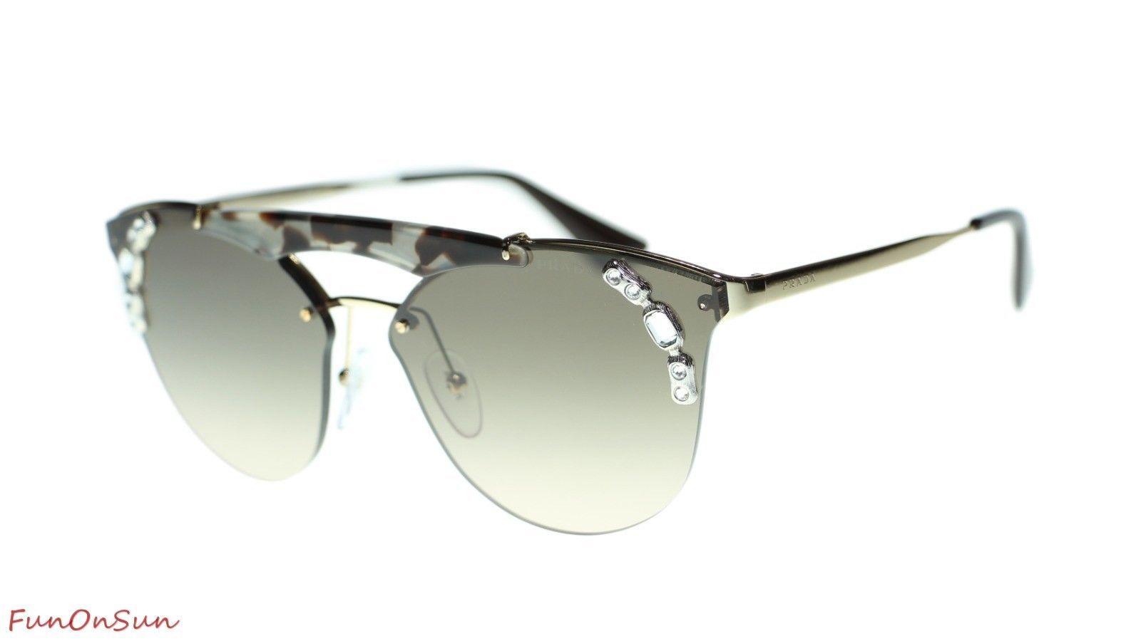 41d800e492 10. 10. Previous. Prada Sunglasses PR53US C3O3D0 Gold Opal Brown Light Brown  Gradient Grey Lens