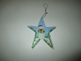 "6 1/2"" Tall Wooden Snowman Star Wall Decor Plaque - $1.00"