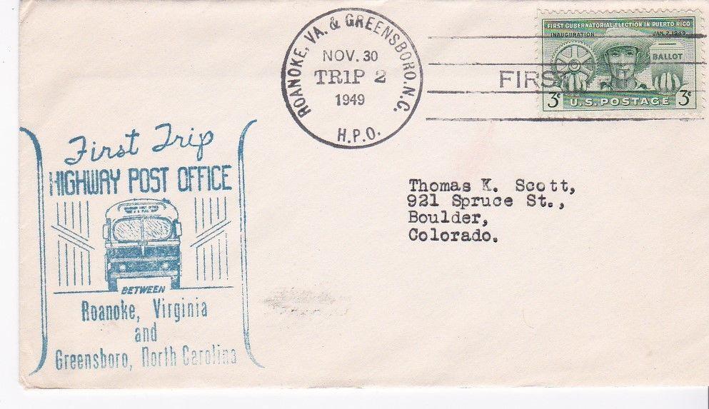 FIRST TRIP H.P.O. ROANOKE, VA. & GREENSBORO, N.C. NOV. 30 1949 TRIP 2