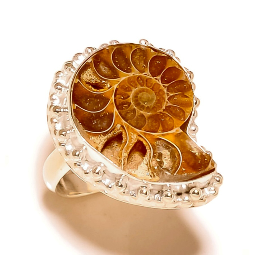 Primary image for Sea Ammonite Natural Gemstone 925 Silver Overlay Handmade Statement Ring US-7.25