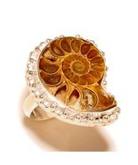 Sea Ammonite Natural Gemstone 925 Silver Overlay Handmade Statement Ring... - $14.12 CAD