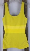 Lululemon women size 6 yellow sleeveless tank top ruched sides athletic ... - $40.54
