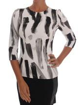 Dolce & Gabbana White Black Striped Printed Blouse Top - $370.37