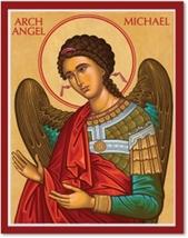"Cretan-Style Archangel Michael Icon - 4.5"" x 6"" Wooden Plaque With Lumina Gold"