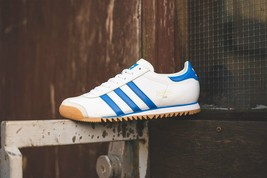 Adidas Originaux ROM Ville Blanc, Royal & Cuir Gris Baskets Chaussures Bleu - $190.85