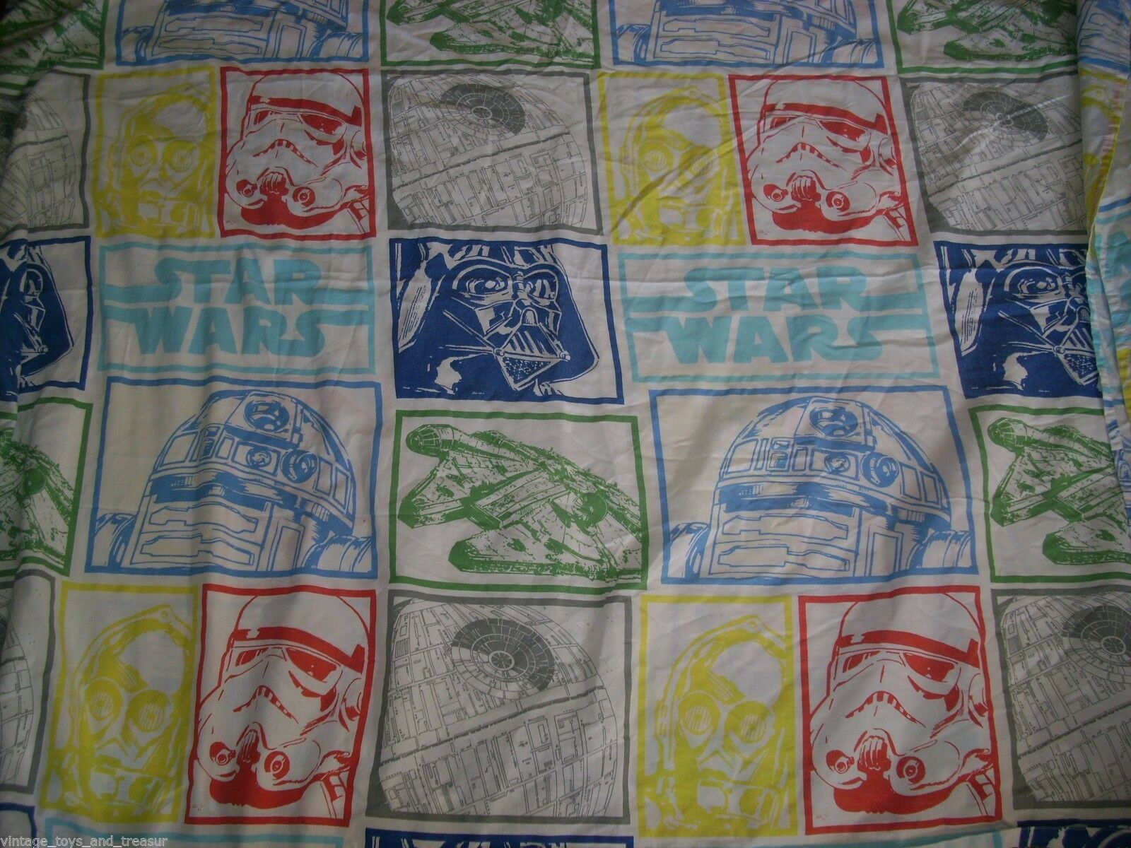 Primary image for VINTAGE STAR WARS CHARACTERS TWIN FLAT SHEET BLUE YELLOW GREED RED BEDDING CLEAN