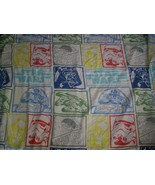 VINTAGE STAR WARS CHARACTERS TWIN FLAT SHEET BLUE YELLOW GREED RED BEDDI... - $23.38
