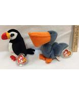 Ty Beanie Babies Puffer Penguin & Scoop Pelican Birds Original w/ Tags L... - $12.86