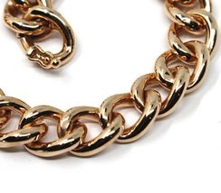 18K ROSE GOLD BRACELET ONDULATE ROUNDED GOURMETTE CUBAN CURB LINKS 9.5 mm, 18cm image 5