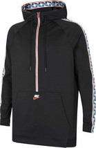 Nike Men's Taped Half Zip Hoodie NEW AUTHENTIC Black/Red/Blue AJ2296-010 - $54.99