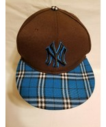 New Era New York Brown & Plaid Blue Yankees Fitted Hat MLB League Cap Si... - $29.69